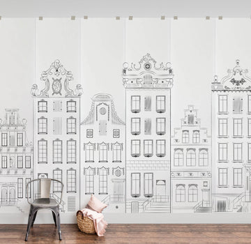 Houses of Amsterdam wall mural in pastel pink girls room interior