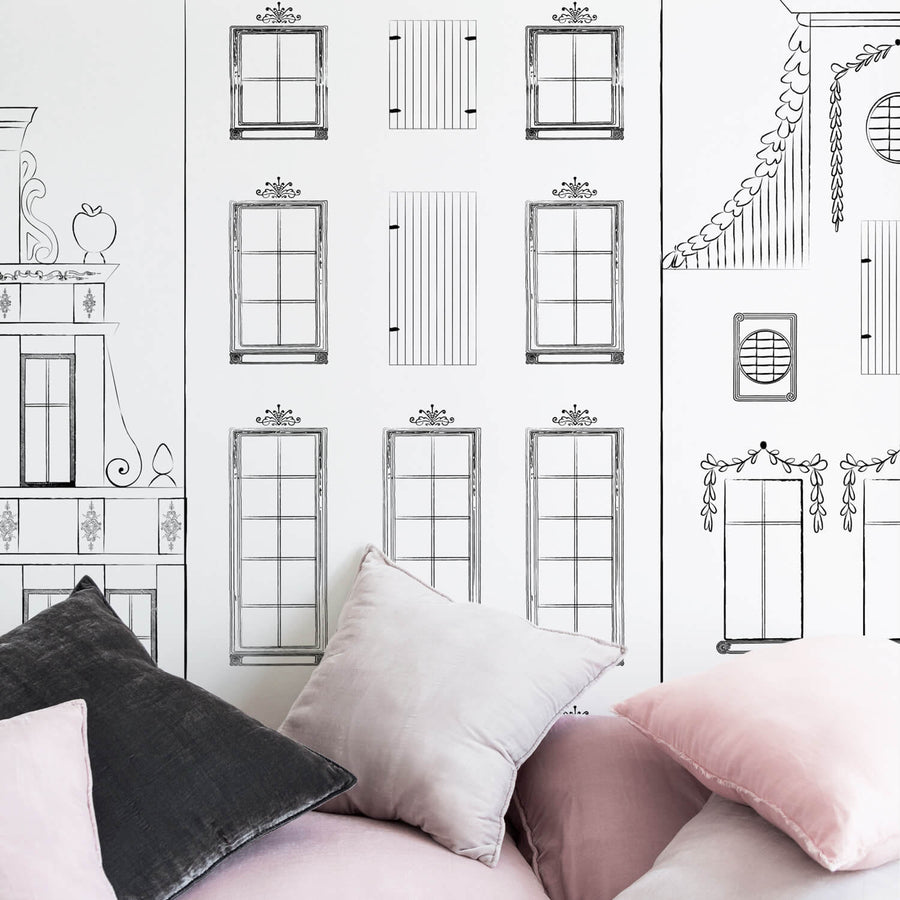 Streets of Amsterdam wall mural in girls bedroom interior