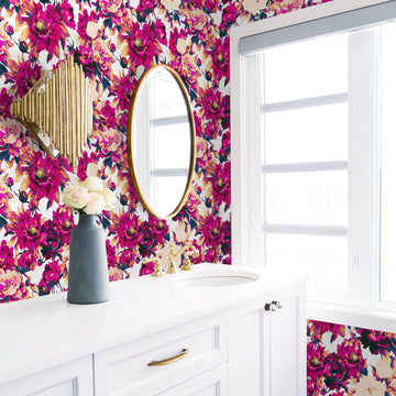 Bold pink florals removable wallpaper