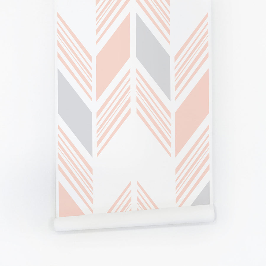 Pastel pink tribal removable wallpaper for girls room