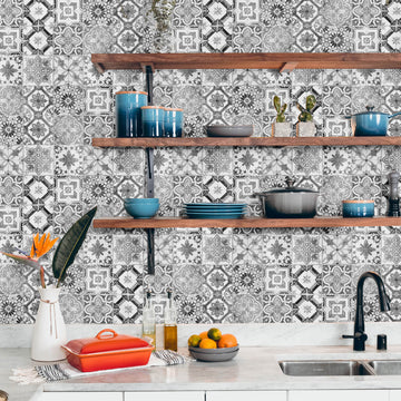 Monochrome tile removable wallpaper