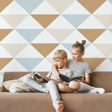Coastal style large triangle pattern removable wallpaper