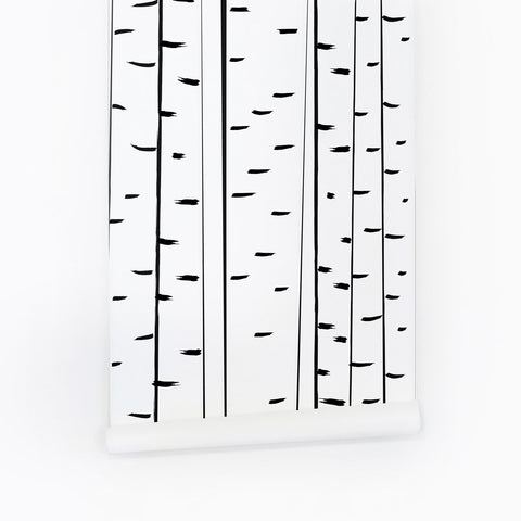 Birch tree pattern wallpaper