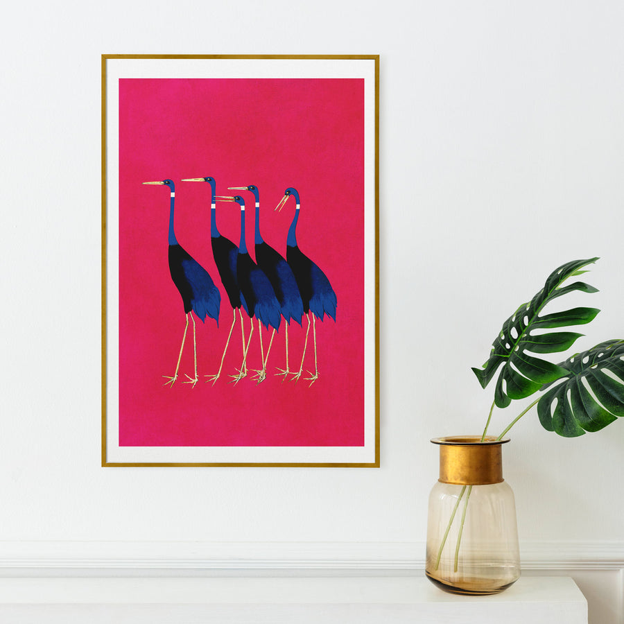 Colorful birds painting art poster