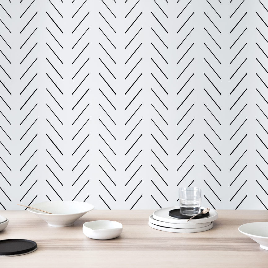 Simple herringbone wallpaper kitchen accent wall