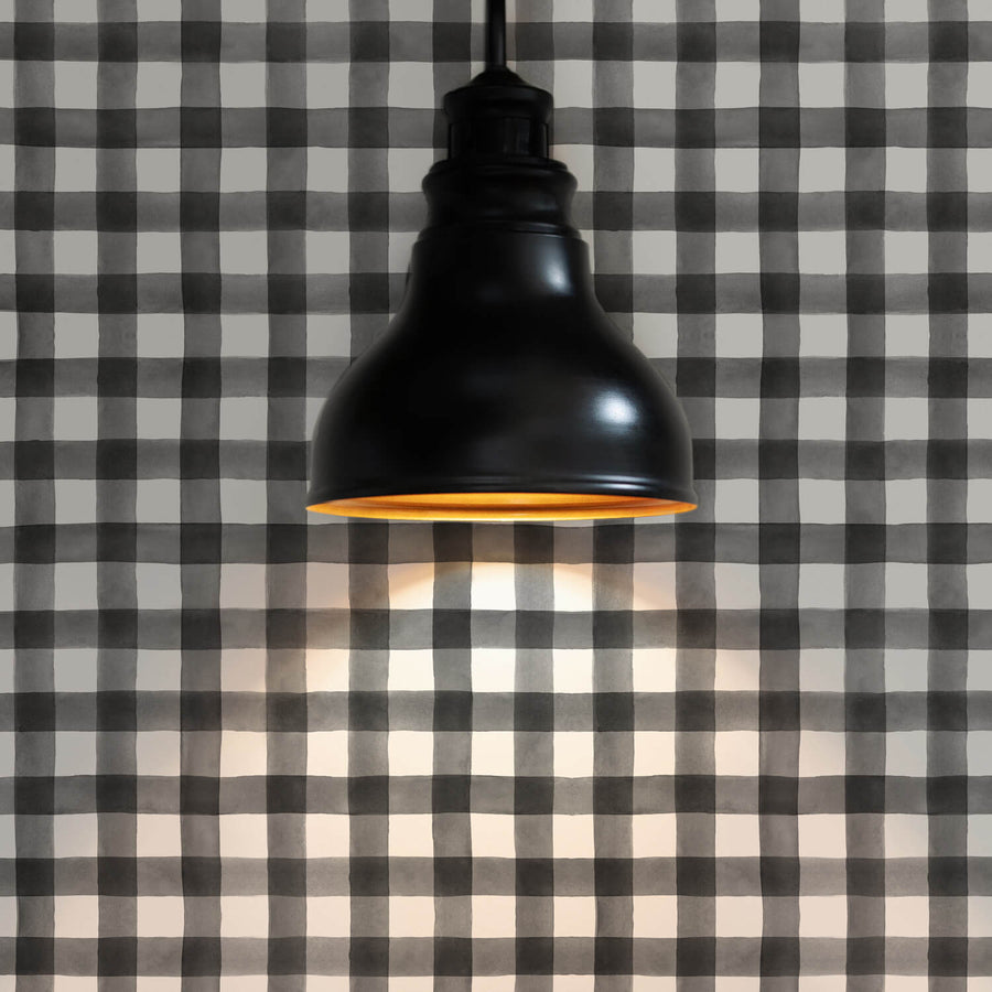 Black gingham plaid removable wallpaper