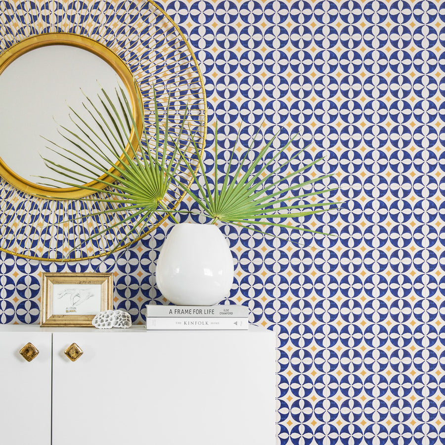 Blue Tile Removable Wallpaper For Bathroom Interior Livettes