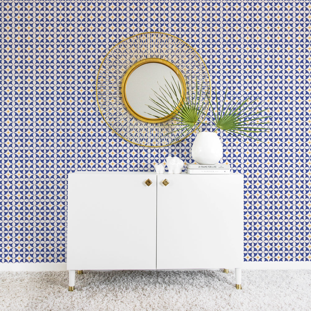 Mid century modern wallpaper with blue and yellow tiles