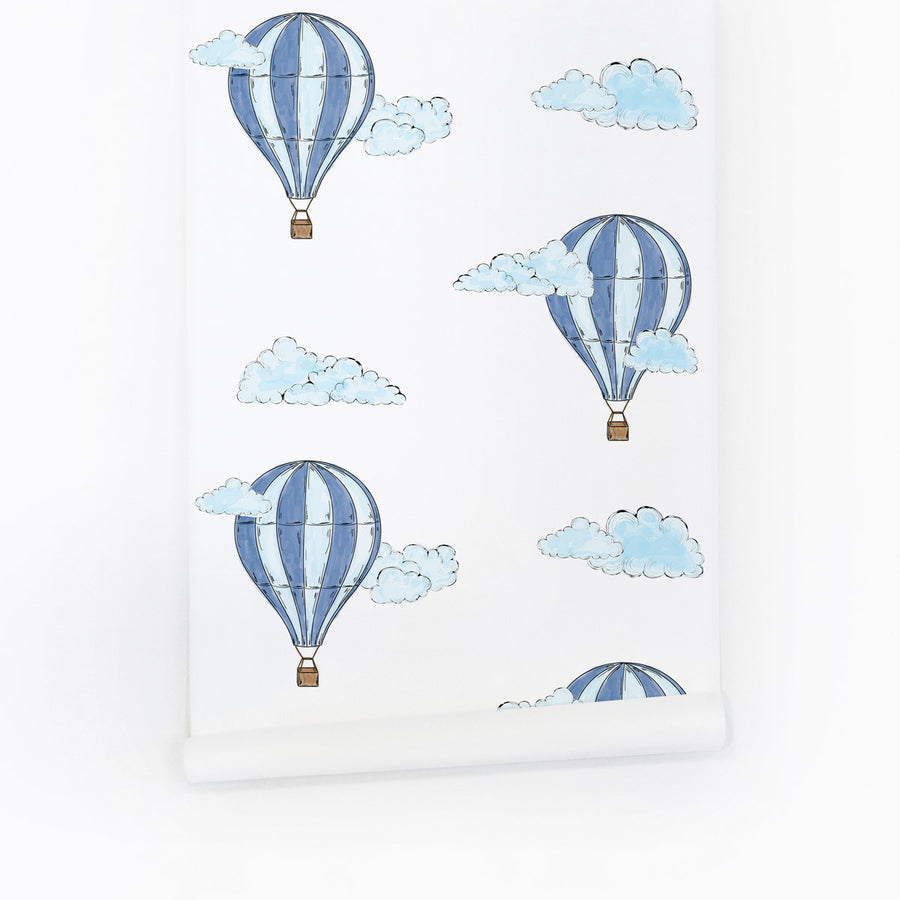 Wallpaper With Blue Air Balloons By Livettes