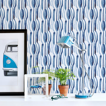Blue watercolor boy's room removable wallpaper