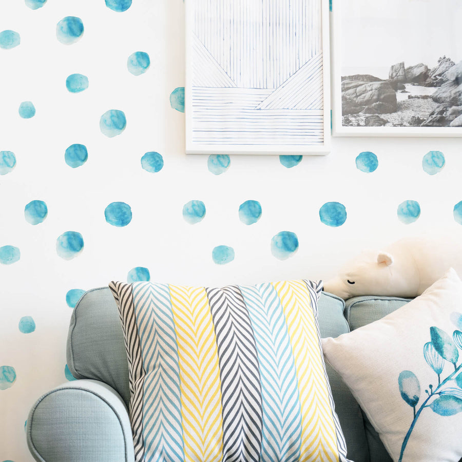 Blue watercolor dot removable wallpaper