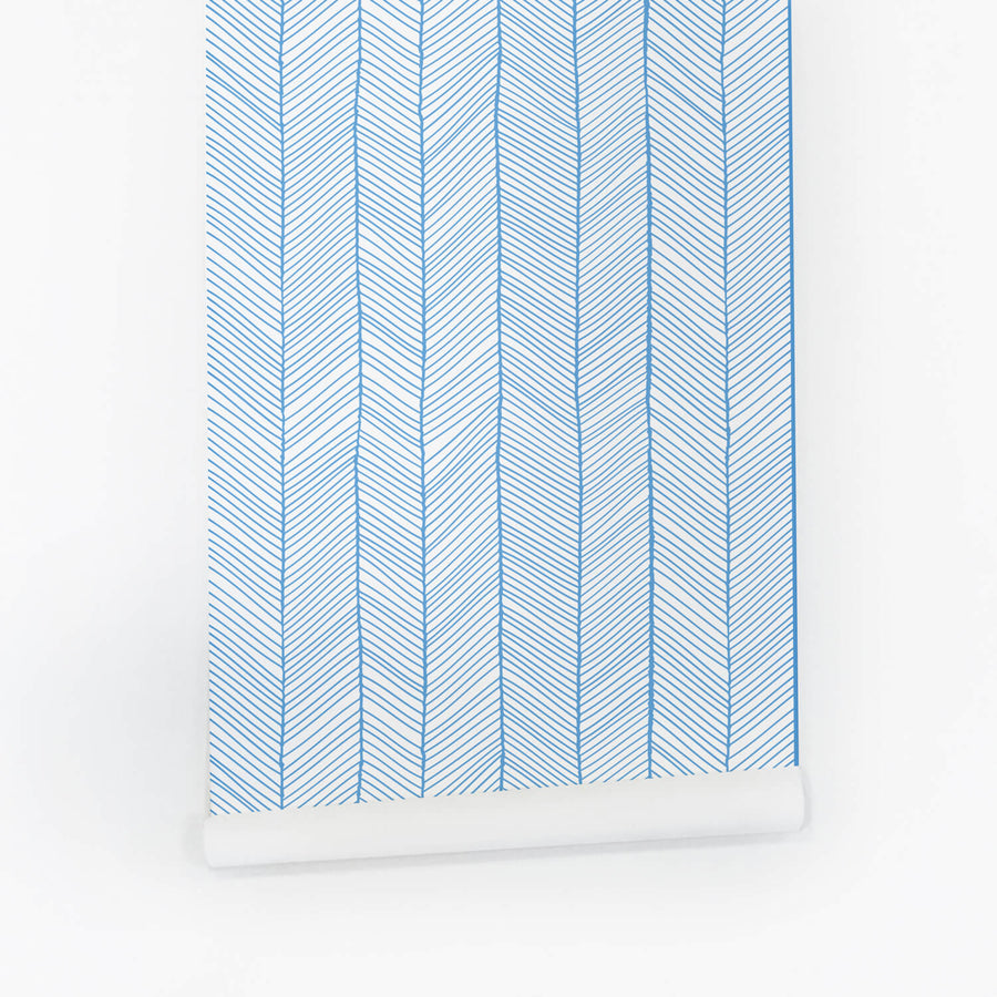 Blue herringbone pattern removable wallpaper