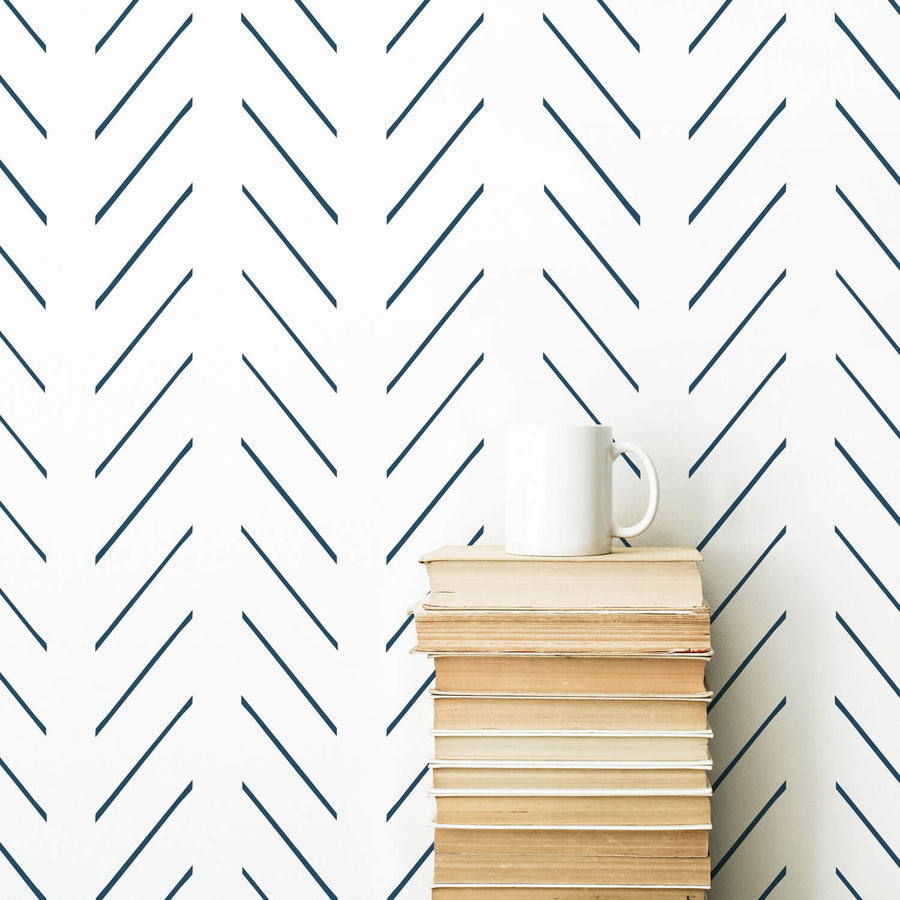 Navy blue delicate herringbone nursery wallpaper