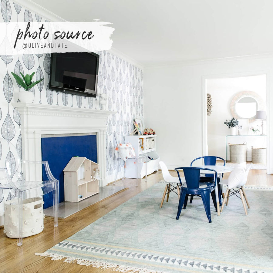 Blue kids playroom with botanical removable