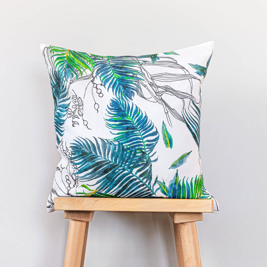 Colorful tropical print washed linen throw pillow cover