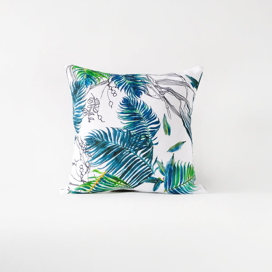 Bright tropical throw pillow