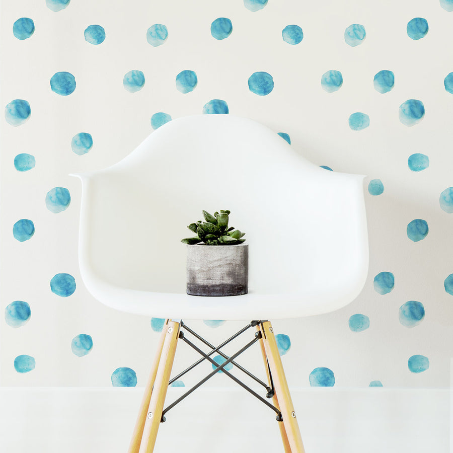 blue watercolor dot removable wallpaper for nursery
