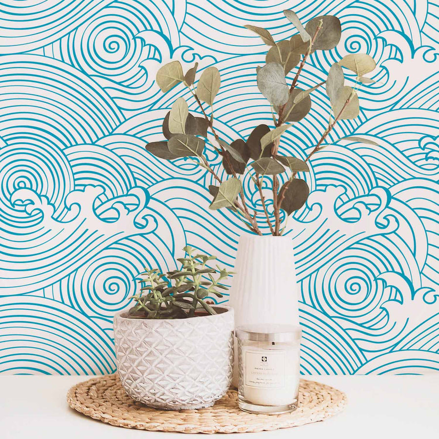 Chinese wave pattern removable wallpaper