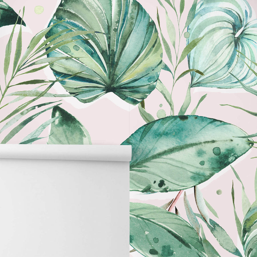 Removable wallpaper with pink tropical design