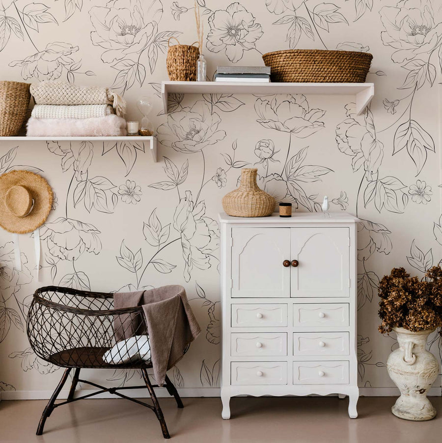 Bohemian style nursery interior with delicate floral design removable wallpaper