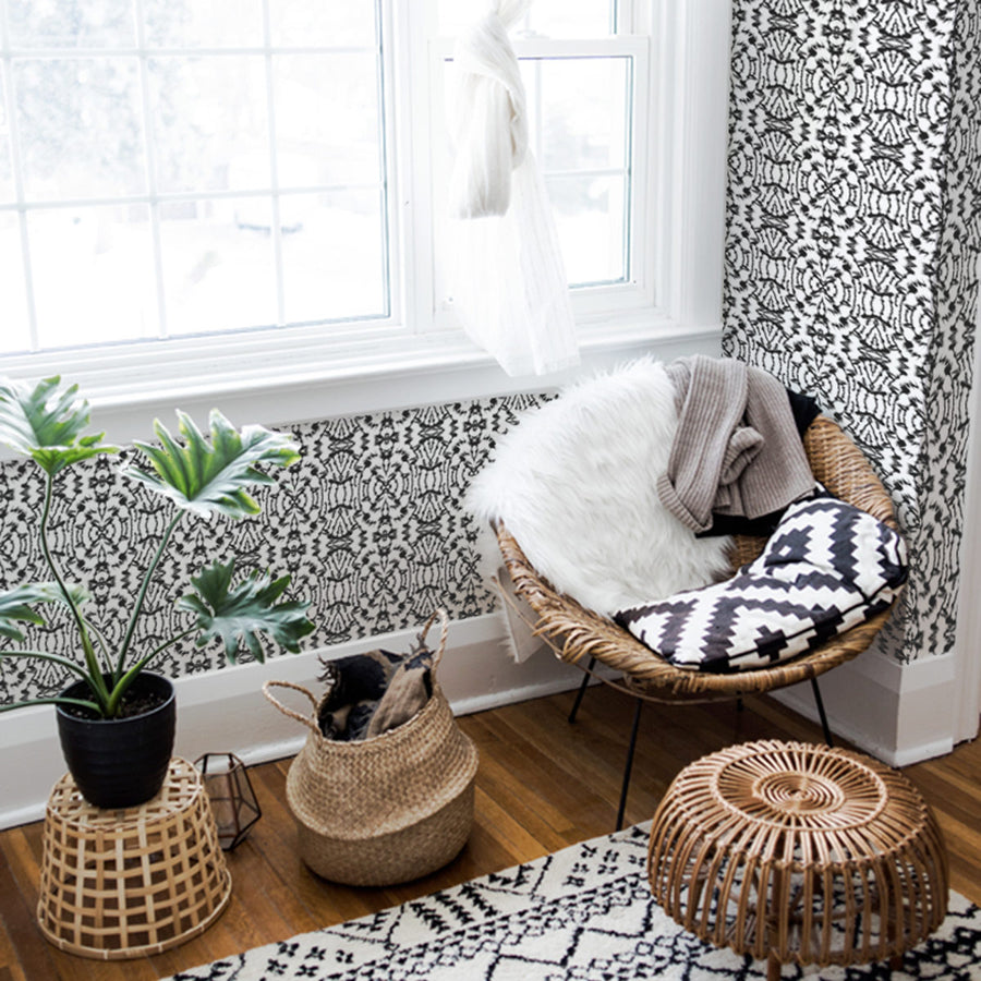Tribal print removable wallpaper in black and white
