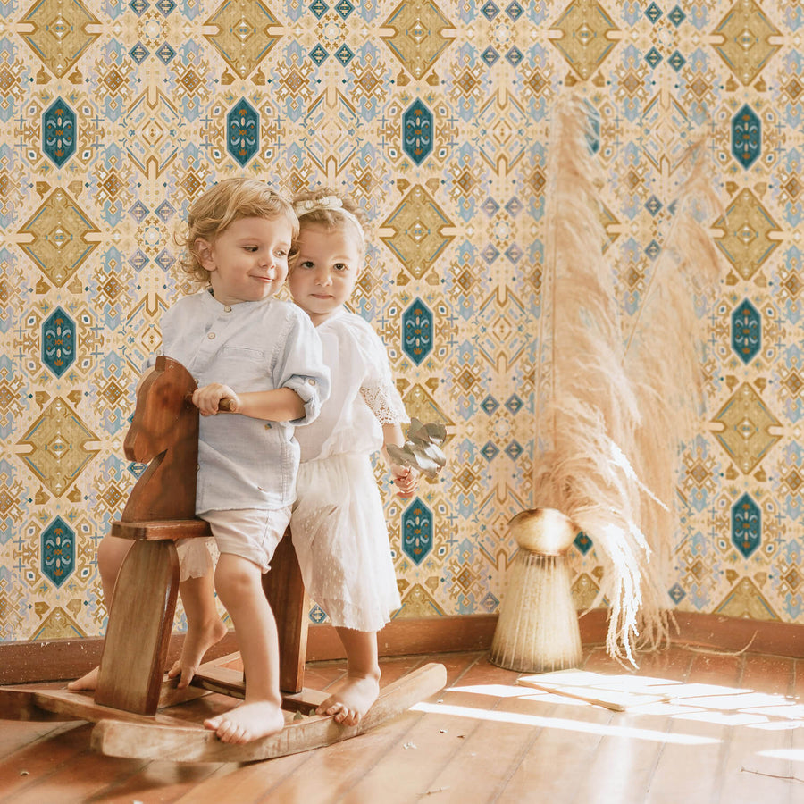 Geometric bohemian removable wallpaper for kids room