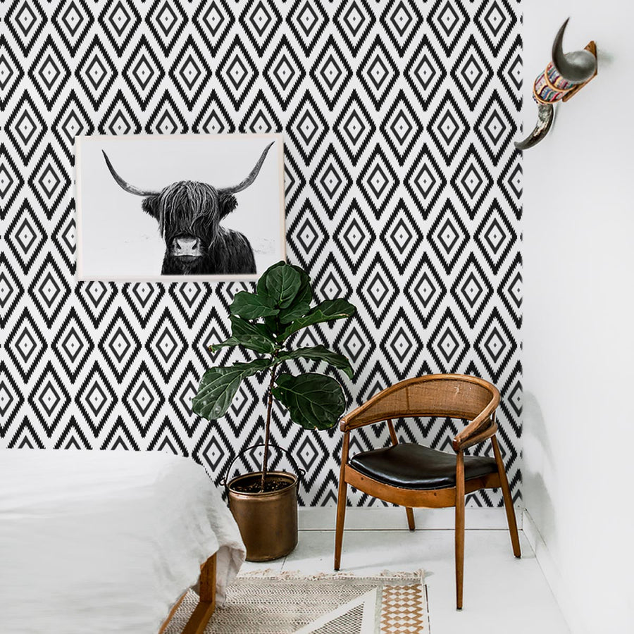 Black and white tribal print removable wallpaper