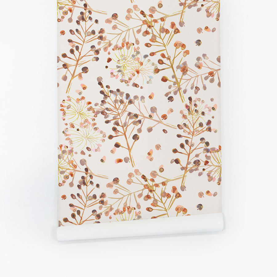 Autumn colored floral removable wallpaper