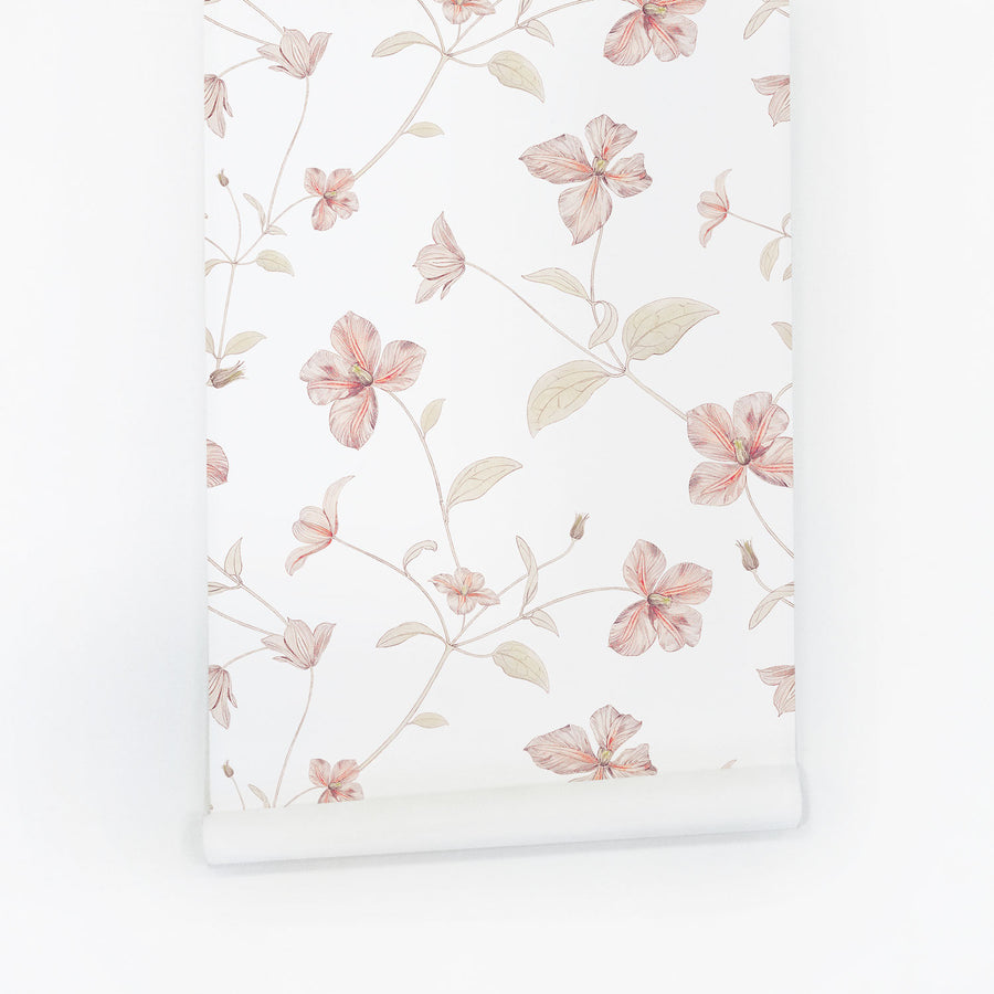 Pink floral removable wallpaper for soft nursery interiors