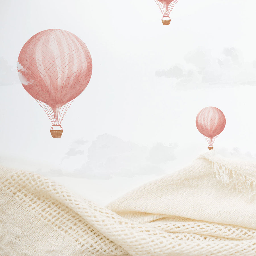 Vintage air balloon removable wallpaper in soft nursery interior