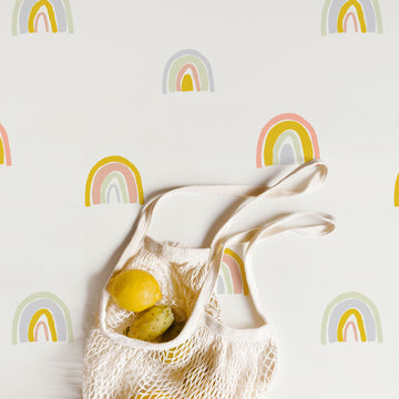 Modern rainbow pattern removable wallpaper with pastel colors