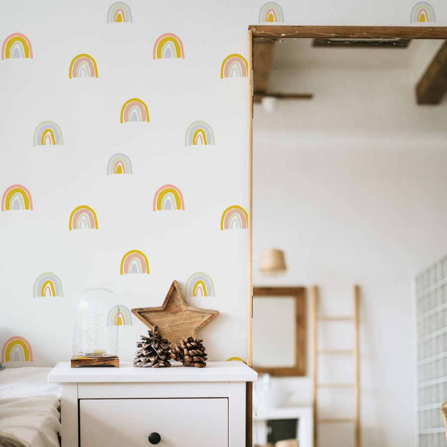 Rainbow removable wallpaper for boho kid's room interiors
