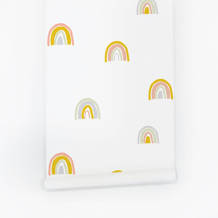Rainbow print removable wallpaper with modern pastel colors