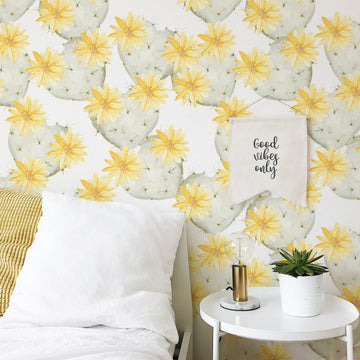 Yellow watercolor cactus removable wallpaper for bohemian girl's nursery