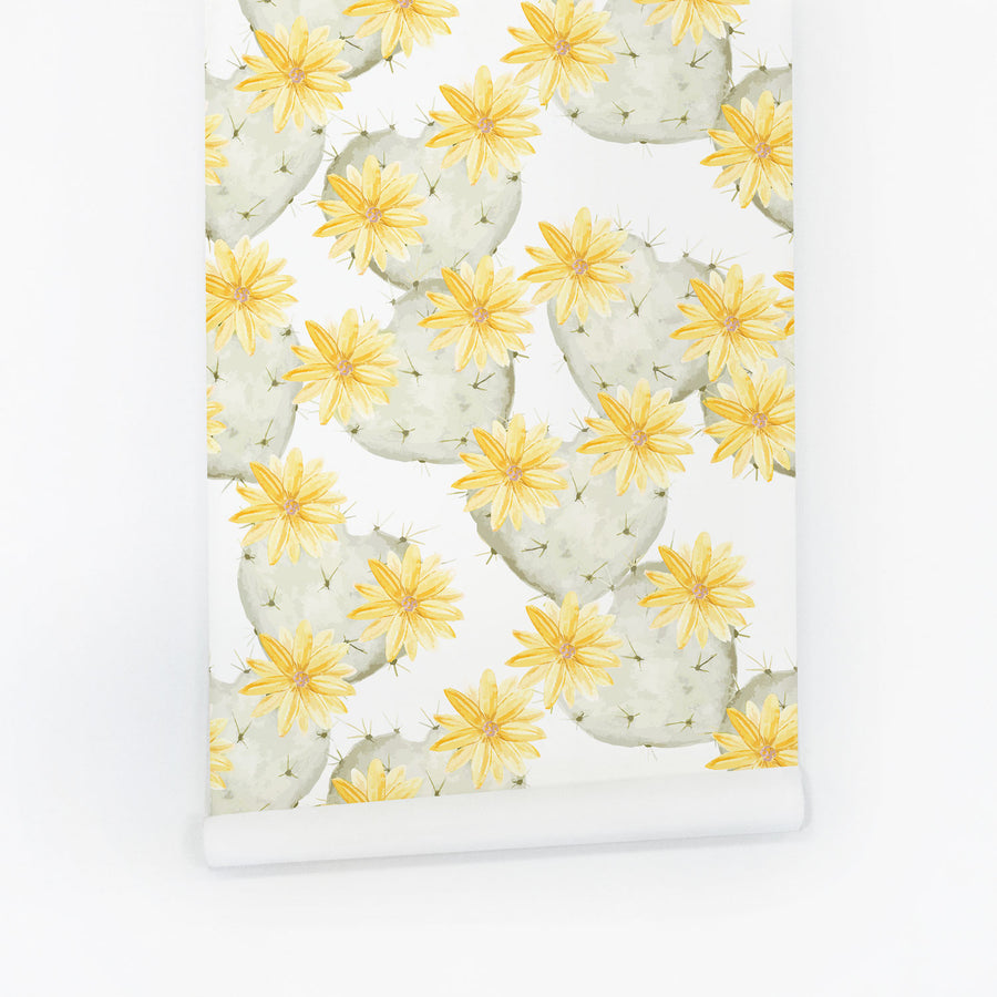 Yellow and mint cactus removable wallpaper
