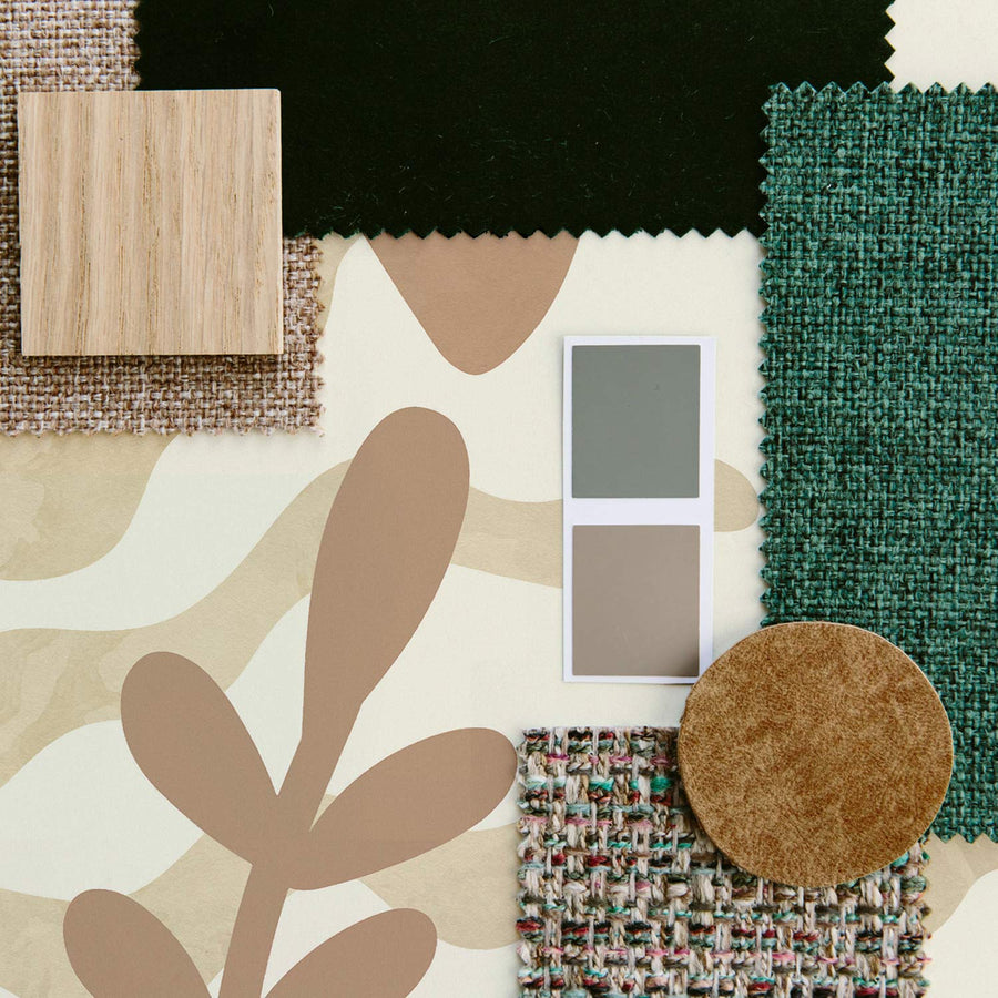 Jungle theme wallpaper in kids room mood board with neutral tones and green accents