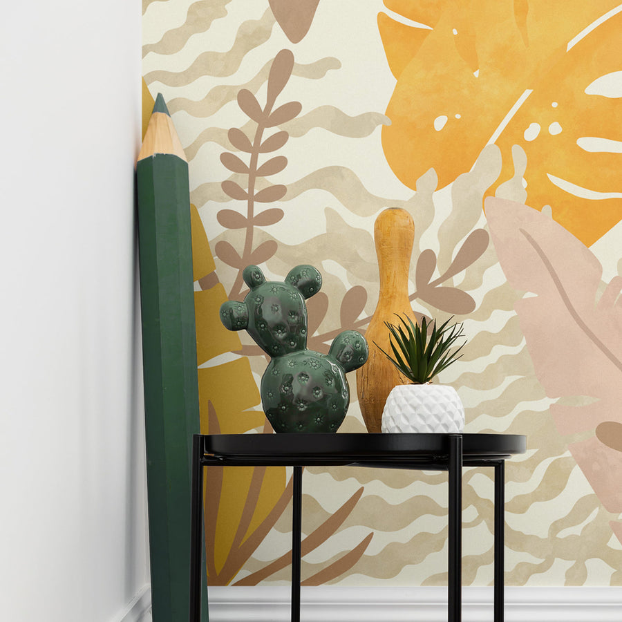 Jungle theme wall mural wallpaper in kids room interior