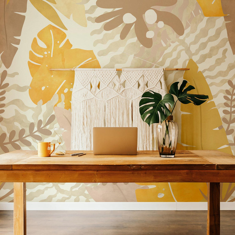 Neutral color palette jungle wall mural in minimal boho office interior