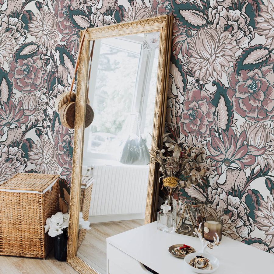 Bohemian paisley removable wallpaper for boho bedroom interior with gold mirror, rattan laundry basket and white dresser