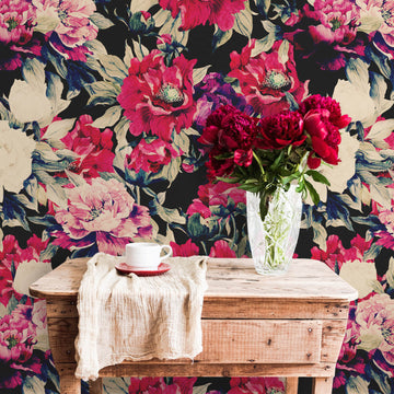 Bold red floral design removable wall mural in country style bohemian kitchen interior