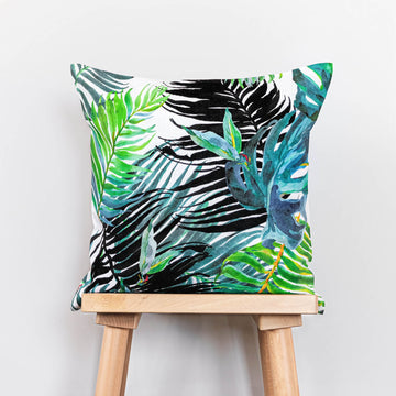 Bold jungle print washed linen throw pillow cover