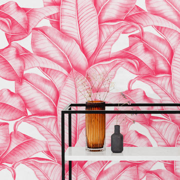 Bright pink banana leaves removable wallpaper