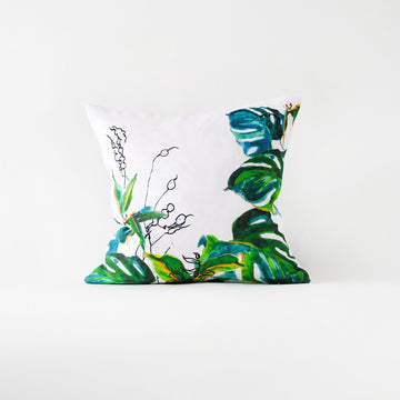 Monstera leaves pillow cover