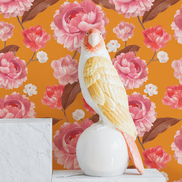 Bright orange and pink color removable wallpaper with watercolor peonies for bohemian interiors