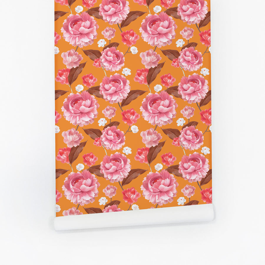 Colorful floral design removable wallpaper with orange and pink tones