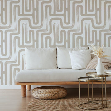 Neutral Paintbrush Maze removable wallpaper