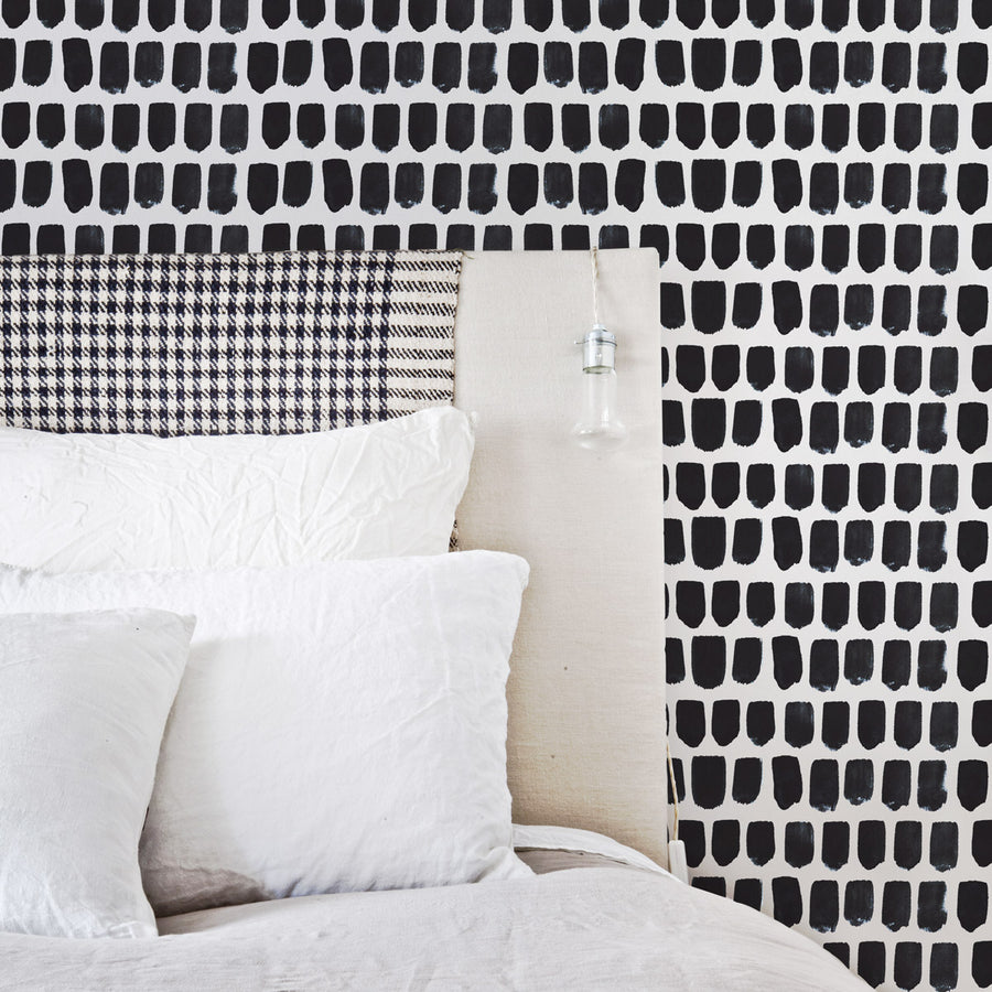 Tiny Brush Pattern removable wallpaper in Black