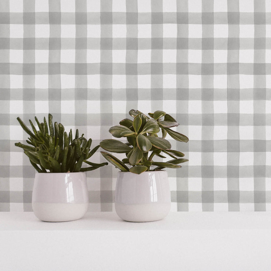 Grey watercolor buffalo check removable wallpaper for gender neutral nursery interior