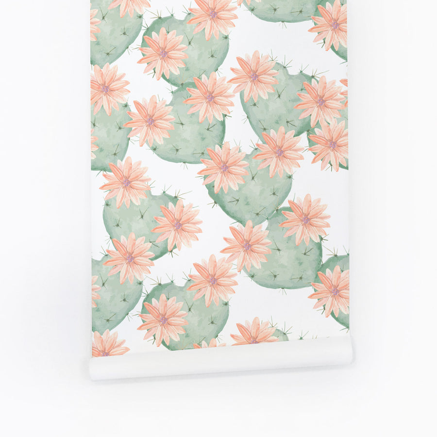 Light green cactus removable wallpaper with pink flowers