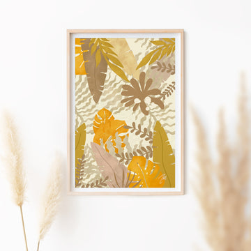 Neutral color jungle wall art poster